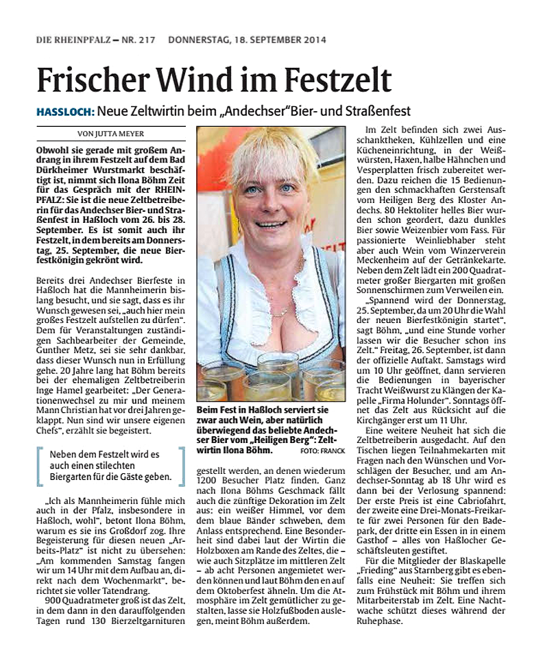 Frischer Wind im Festzelt, Die Rheinpfalz 18.09.2014