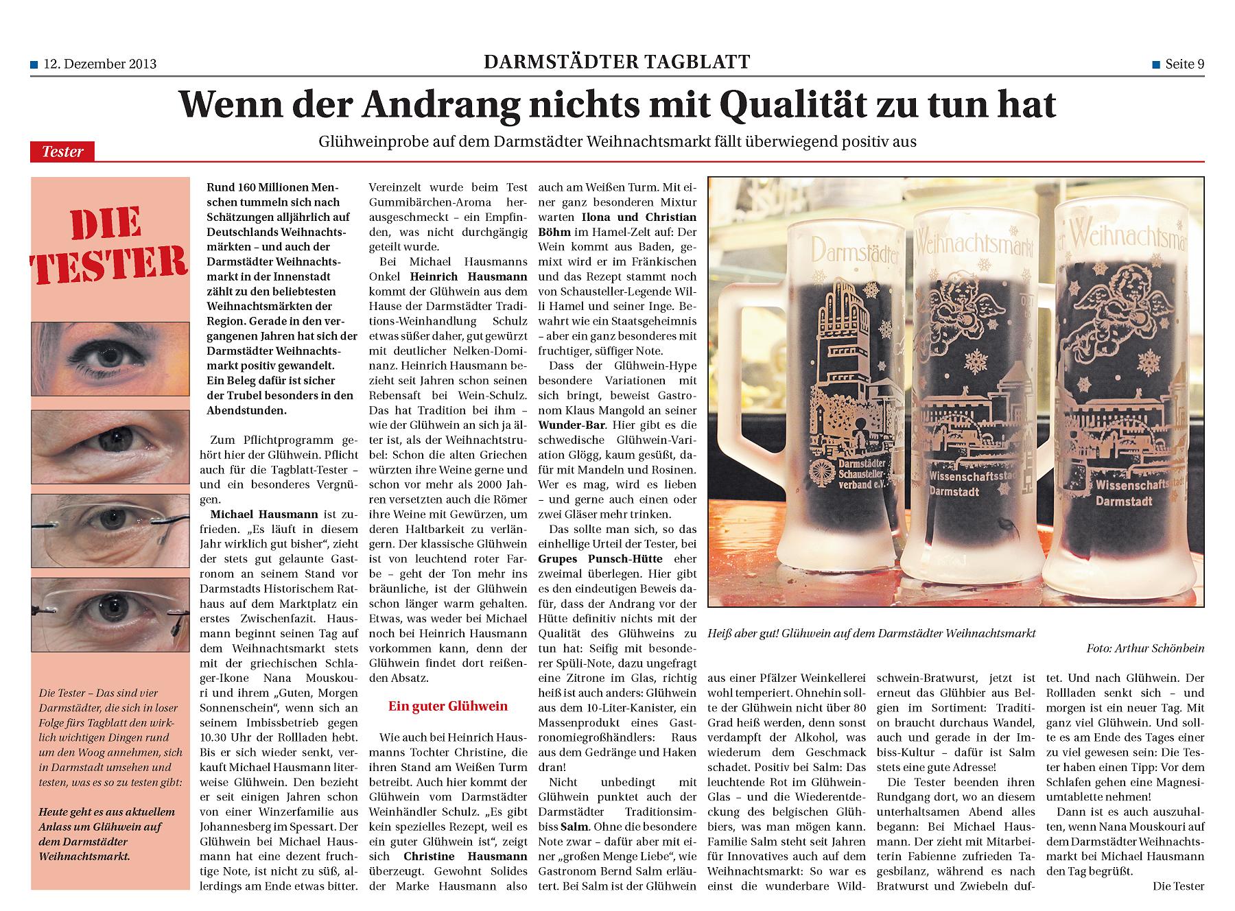 Glühweintest auf dem Weihnachtsmarkt, Darmstädter Tagblatt 12.12.2013
