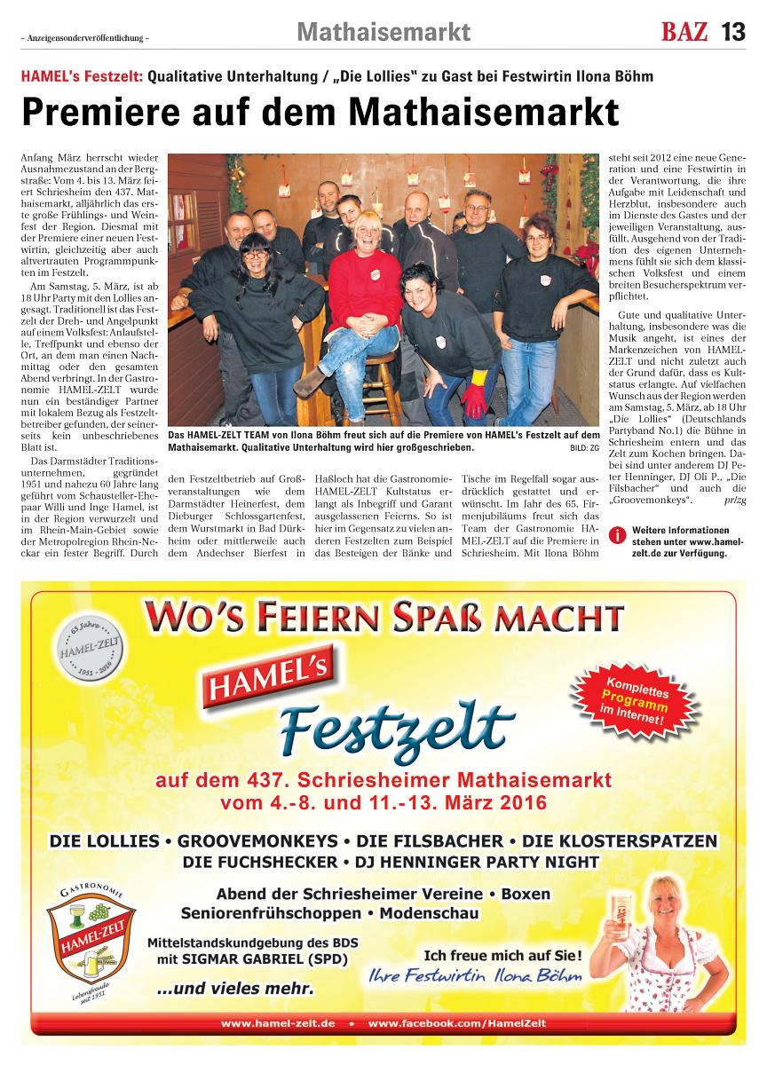 Premiere auf dem Mathaisemarkt: HAMEL's Festzelt, Sonderbeilage der BAZ am Sonntag 28.02.2016