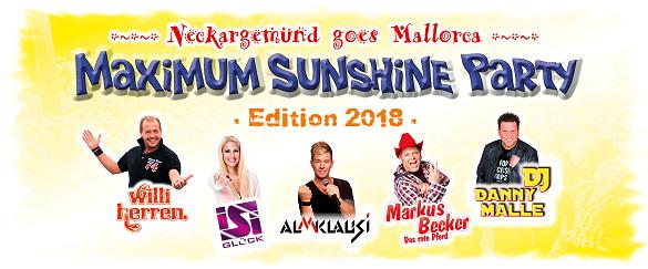 Neckargemünd goes Mallorca - MAXIMUM SUNSHINE PARTY - Edition 2018, Montag, 05.11.2018 - HAMEL's Festzelt auf dem Bohrermarkt Neckargemünd